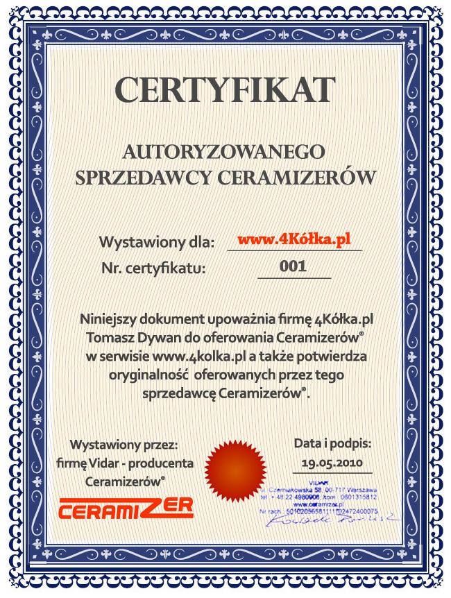 Certyfikat autoryzacji 4Kółka.pl